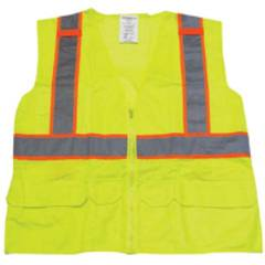 LIME/GREEN ANSI CLASS 2 SURVEYOR SOLID/MESH VEST