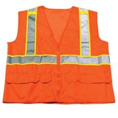 ORANGE ANSI CLASS 2 SURVEYOR SOLID/MESH VEST