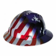 MSA V-GUARD FULL BRIM HARD HAT - AMERICAN STARS AND STRIPES