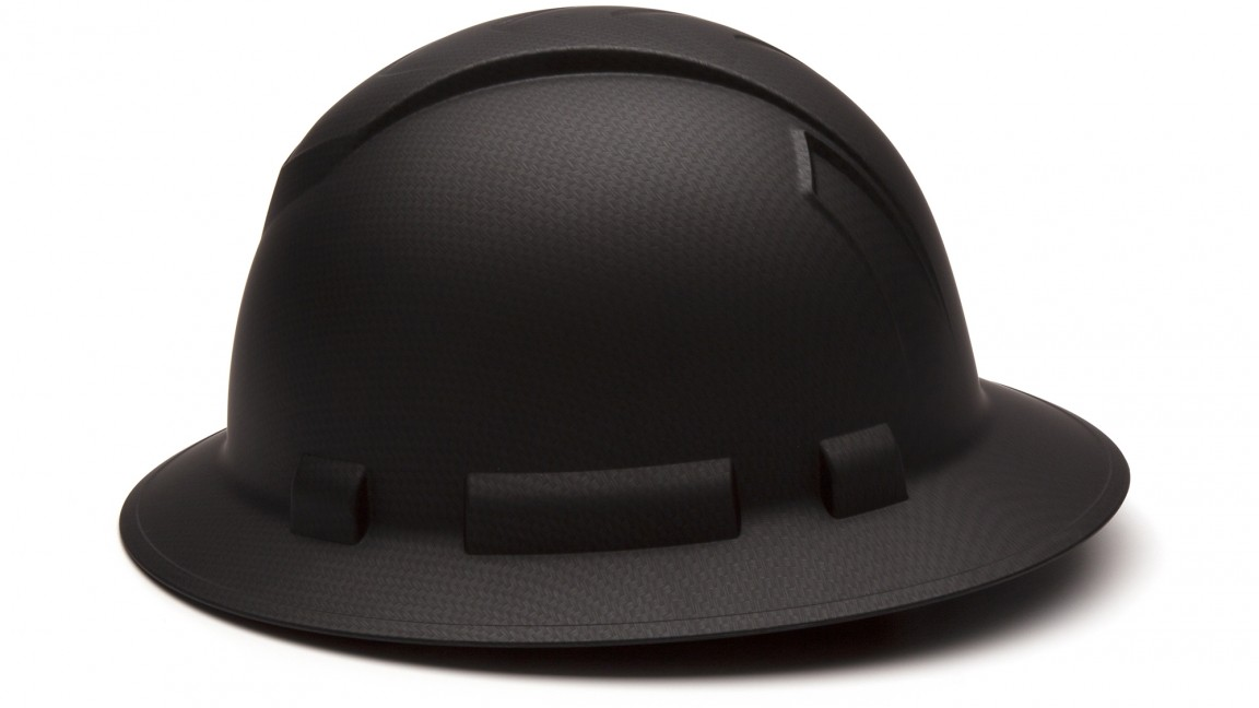 Ridgeline BLACK Full Brim Hard Hat 4pt