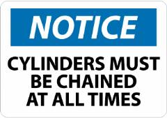 NOTICE CYLINDER MUST BE CHAINED AT ALL TIMES SIGN