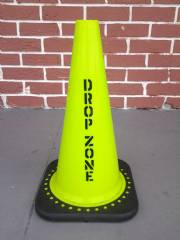 "IN STOCK - 18"" Drop Zone Cone - Non reflective Lime color W/black Base - IN STOCK"