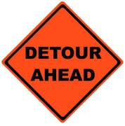 DETOUR AHEAD ROLL-UP SIGN / VINYL POCKETS